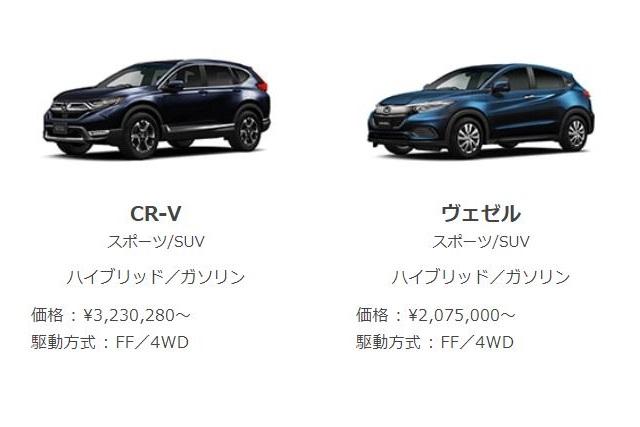 ヴェゼル新型とCR-Vを比較!どっちがおすすめ?